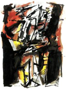 Stehende Figur, 1964 Acryl, Tusche auf Papier 73 x 55 cm